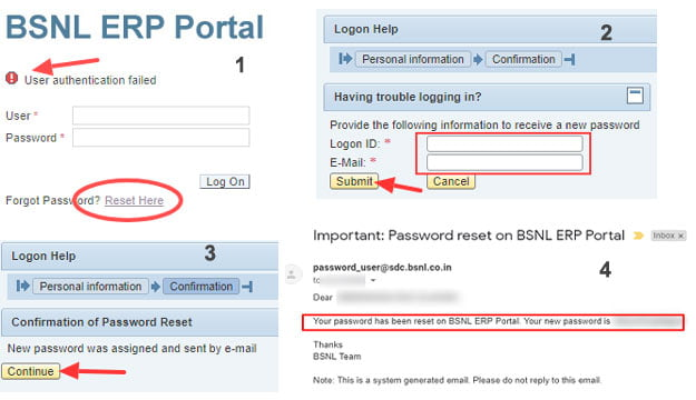 BSNL ERP Portal Password Reset