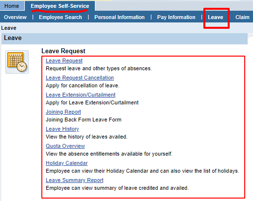 BSNL ERP Leave Options