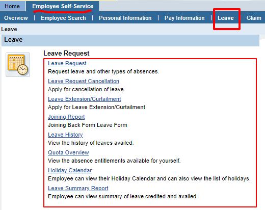 BSNL ERP Leave Options